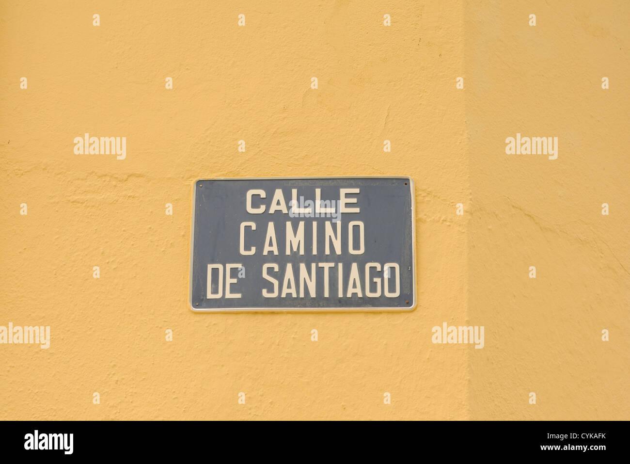 Street sign reading 'Calle Camino de Santiago' on the pilgrim route to Santiago de Compostela. Herrerias, - Stock Image