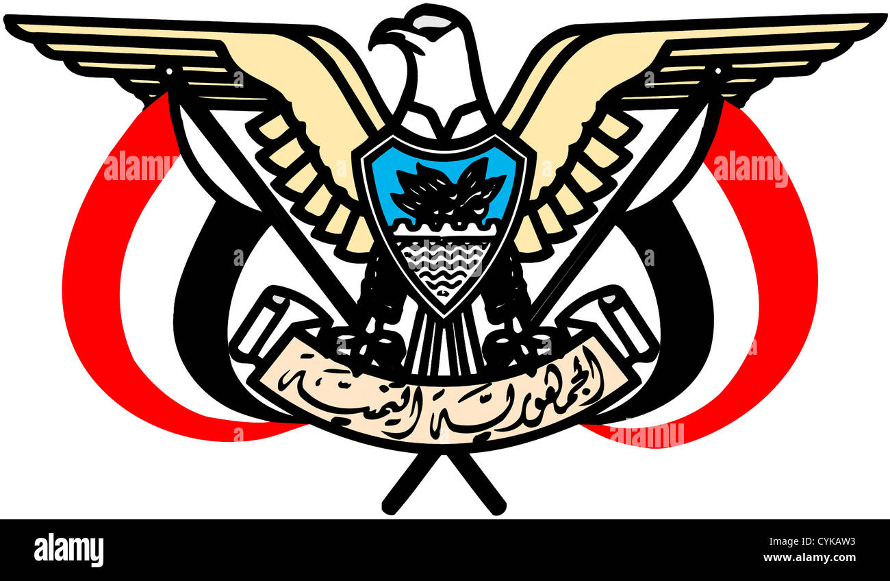 National coat of arms of the Islamic Republic Yemen. - Stock Image