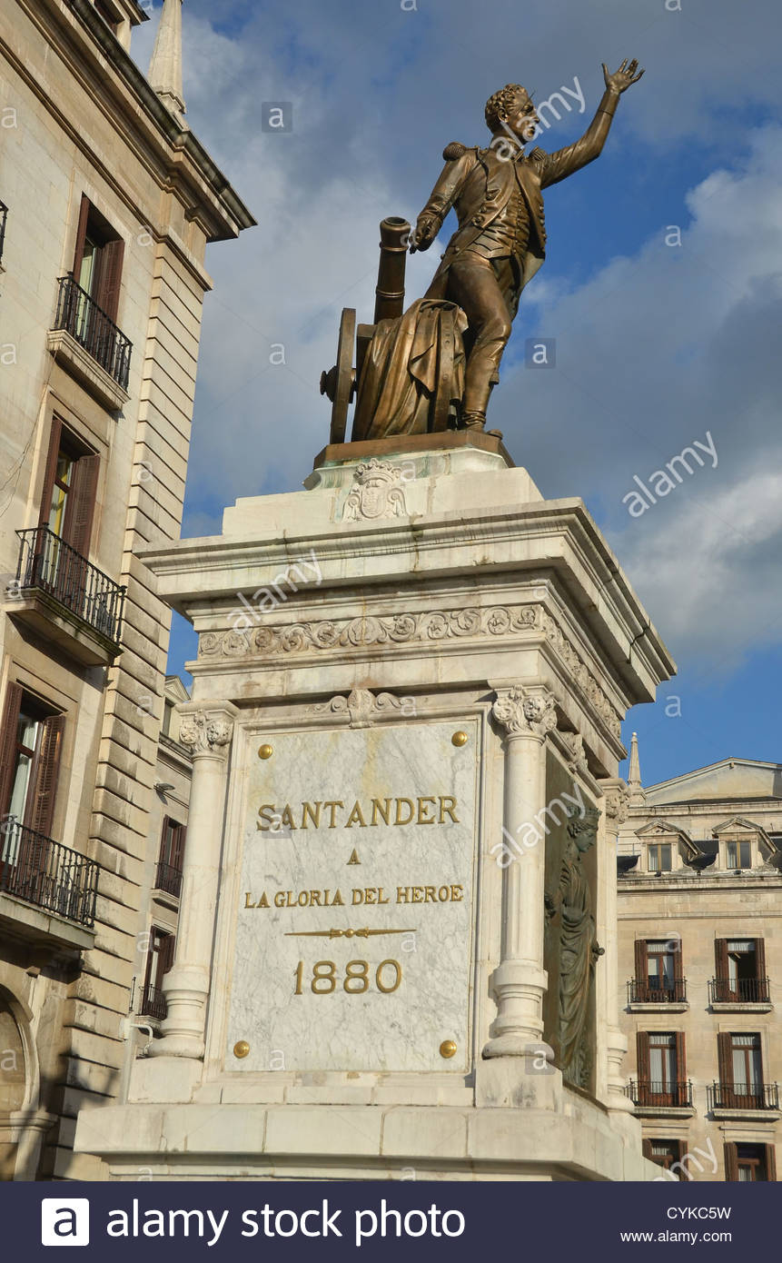 statue of Pedro Velarde, hero of the Spanish war of independence, at the South side of the Plaza Porticada in Santander. - Stock Image