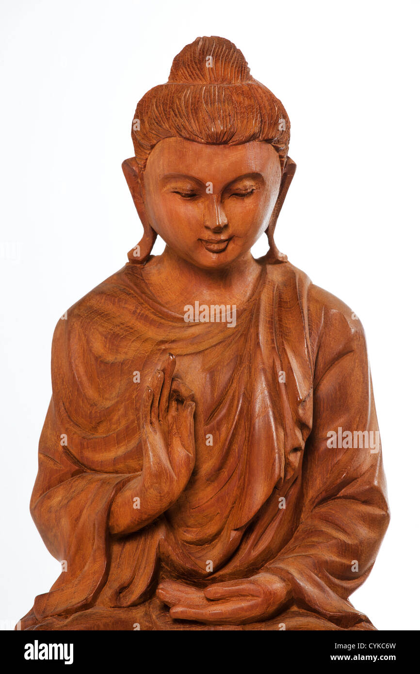 Buddha Statue Carved Wooden Buddha Sitting In Meditation On A Lotus