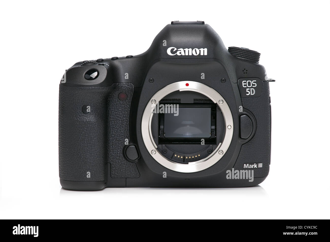 Camera, canon 5d mark III mk 3  on white background with reflection photographed in studio - Stock Image