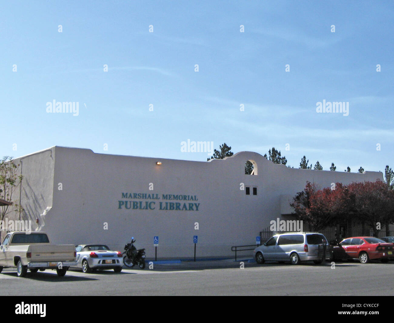 Marshall Memorial Public Library, located at 110 South Diamond Street in Deming, New Mexico. - Stock Image