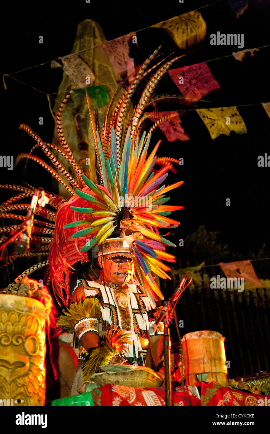 North America, Mexico, San Miguel de Allende, man dressed as Aztec warrior during Day of the Dead celebrations Stock Photo