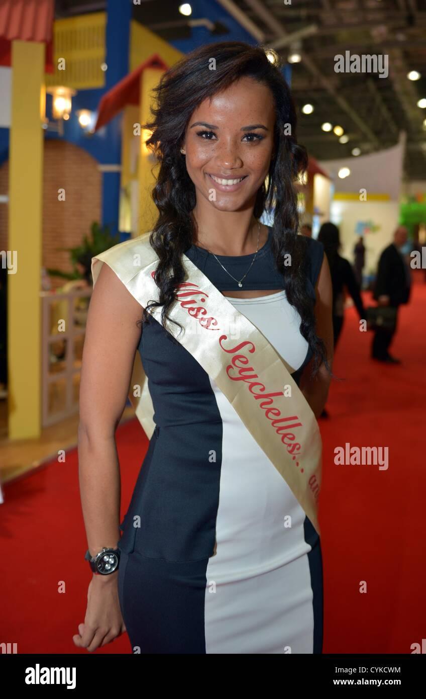 World Travel Market, London, UK  Miss Seychelles - Stock Image