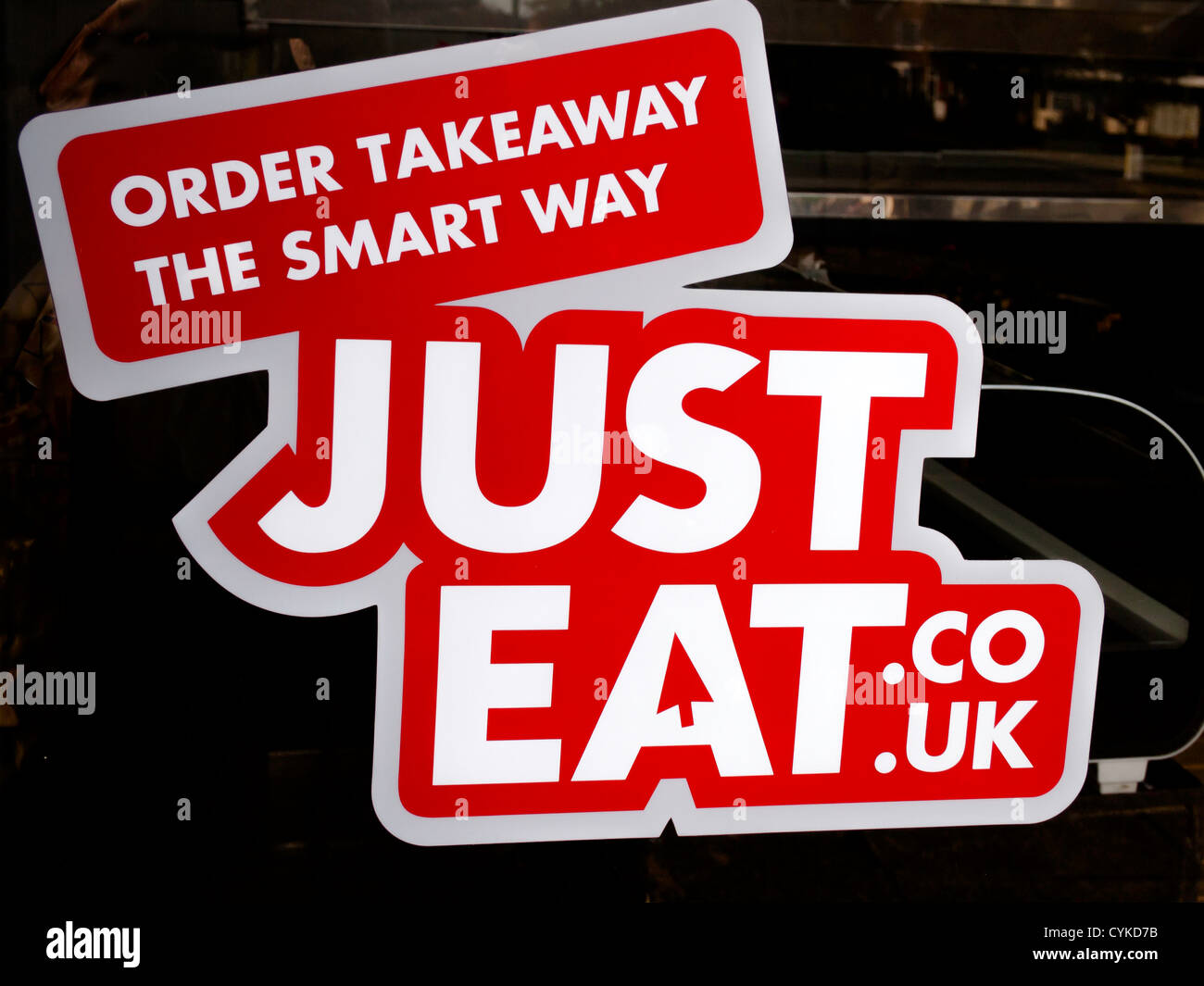 Sign For Justeat Couk In A Small Fish And Chip Shop Window