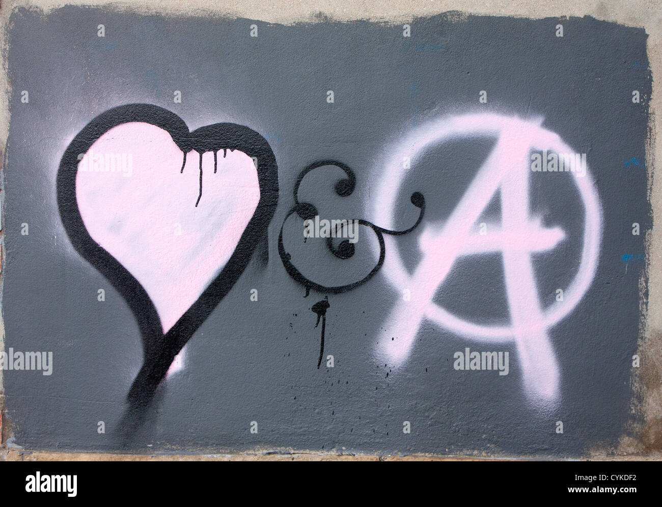 Heart And Capital A In Circle Symbols Of Love And Anarchy Graffiti Art On Wall Cardiff Wales Uk