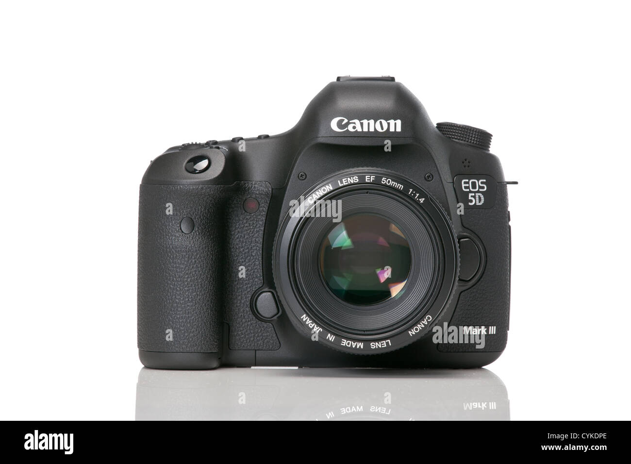 5d mk iii 3 with 50mm lens on the dslr against a white background. - Stock Image