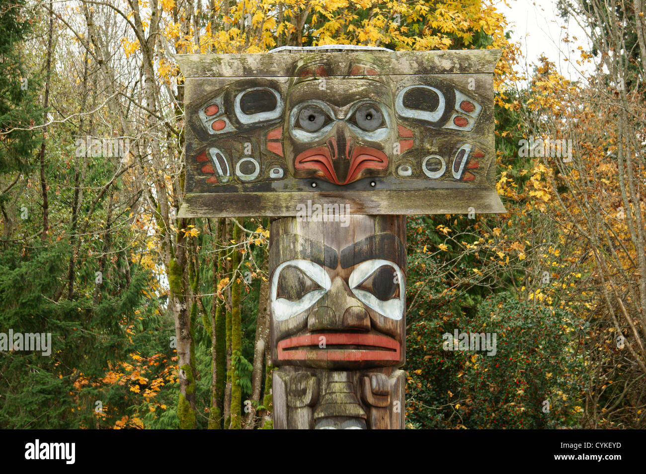 Haida mortuary pole, Museum of Anthropology (MOA), Vancouver, BC, Canada - Stock Image
