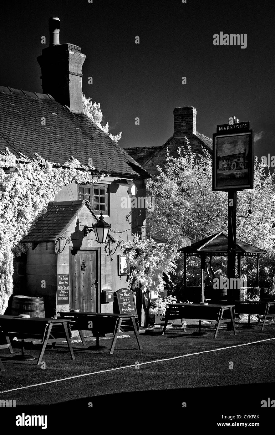 The Tavern Denstone in infrared monochrome - Stock Image