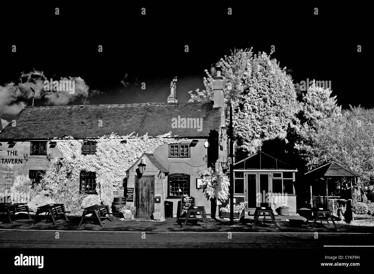 The Tavern Denstone  Uttoxeter Staffordshire infrared monochrome - Stock Image