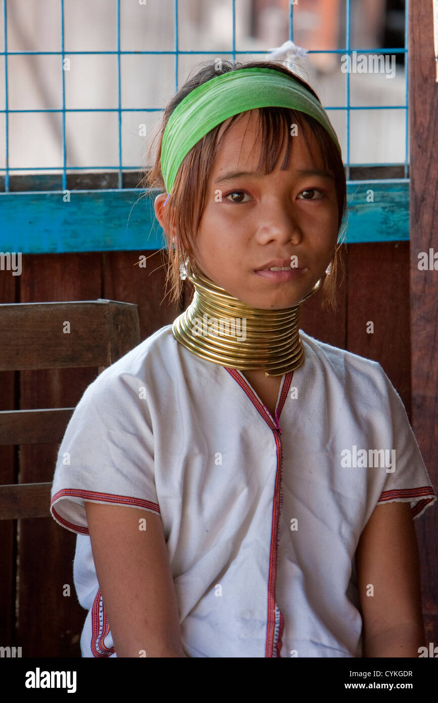Myanmar, Burma. Young Padaung Woman with Brass Neck Coils, Inle Lake, Shan State. The Padaung are also called Kayan Lahwi. Stock Photo