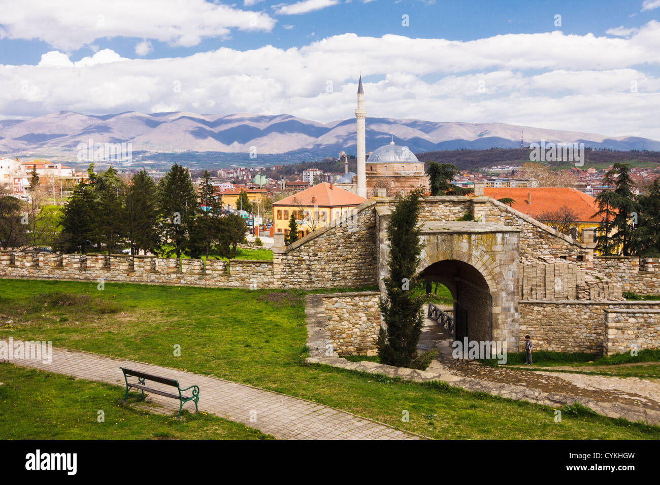 Kale fortress with Mustafa Pasha mosque in background. Skopje, Macedonia - Stock Image