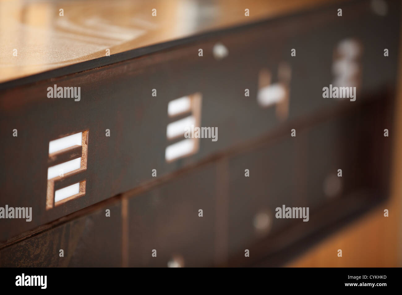 metal letter postbox in modern design apartment block numbers 2 - 5 - Stock Image