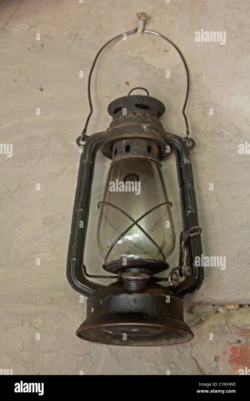 Antique lantern Kerosene Lamp Light Metal Object - Stock Image
