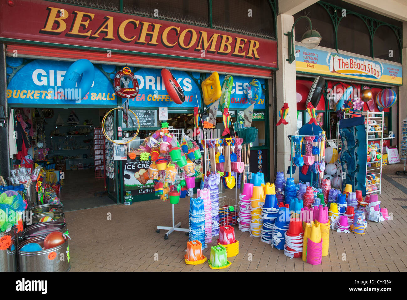 Wales, Barry Island, seaside resort, beach toy shop - Stock Image