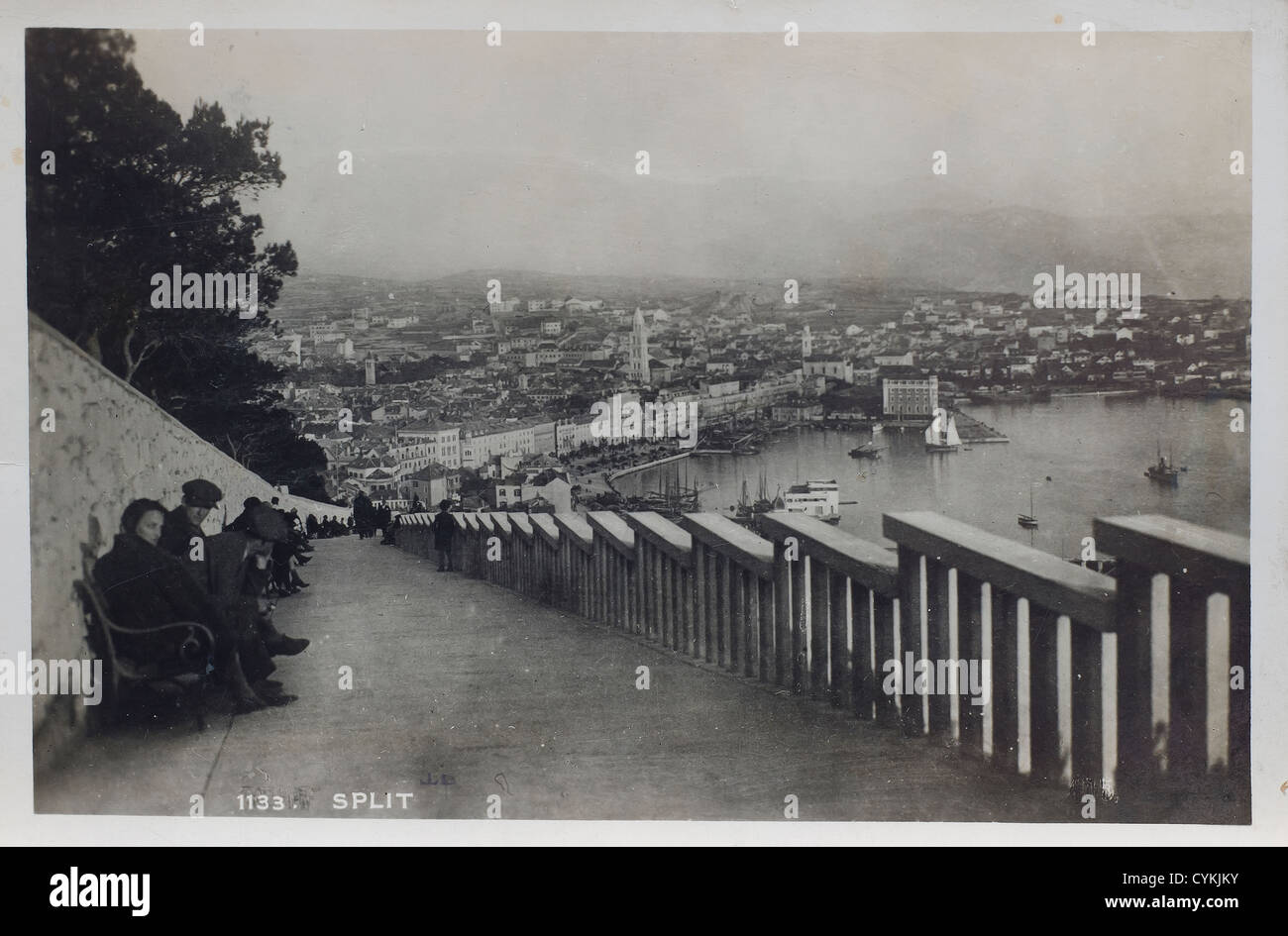 A view of Split in an old postcard - Stock Image