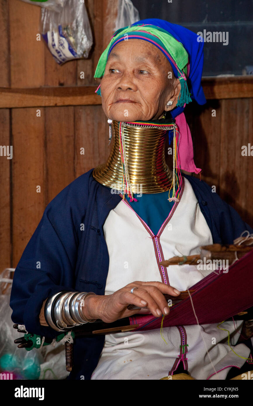 Myanmar, Burma. Padaung Woman with Brass Neck Coils, Inle Lake, Shan State. The Padaung are also called Kayan Lahwi. Stock Photo