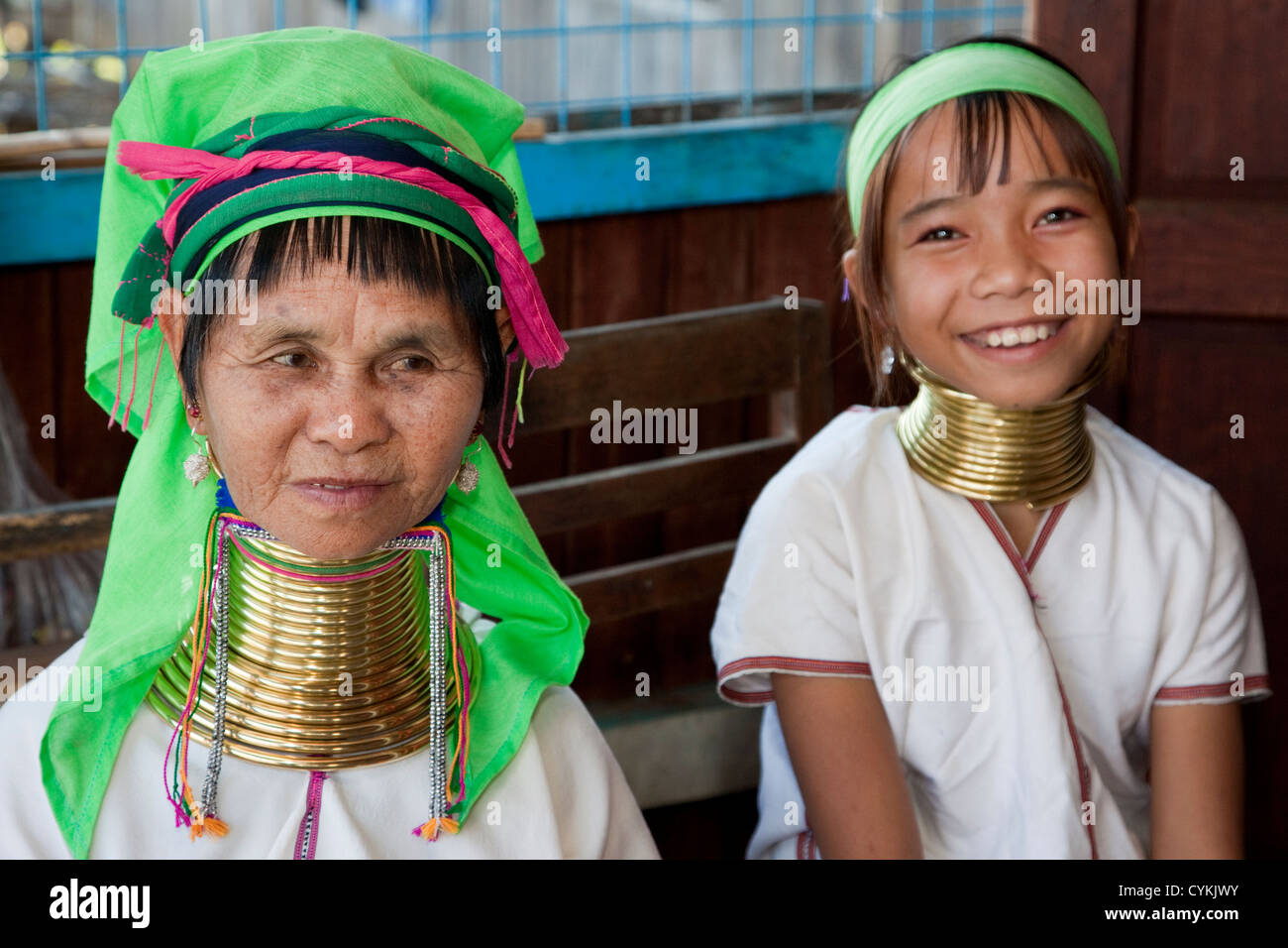Myanmar, Burma. Padaung Women with Brass Neck Coils, Inle Lake, Shan State. The Padaung are also called Kayan Lahwi. Stock Photo