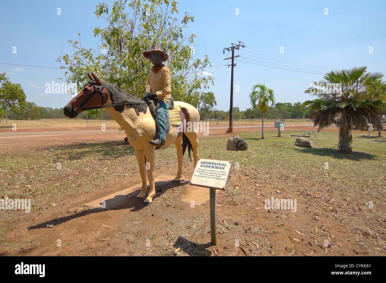 Statue of an Aboriginal Stockman, Mataranka, Northern Territory, Australia - Stock Image