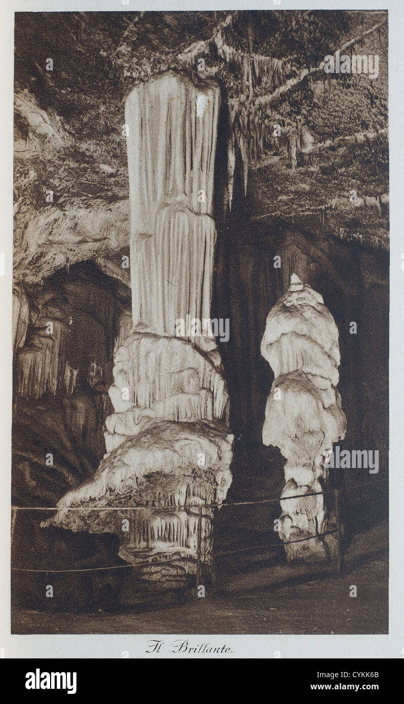 A view of Postojna cave in an old postcard - Stock Image