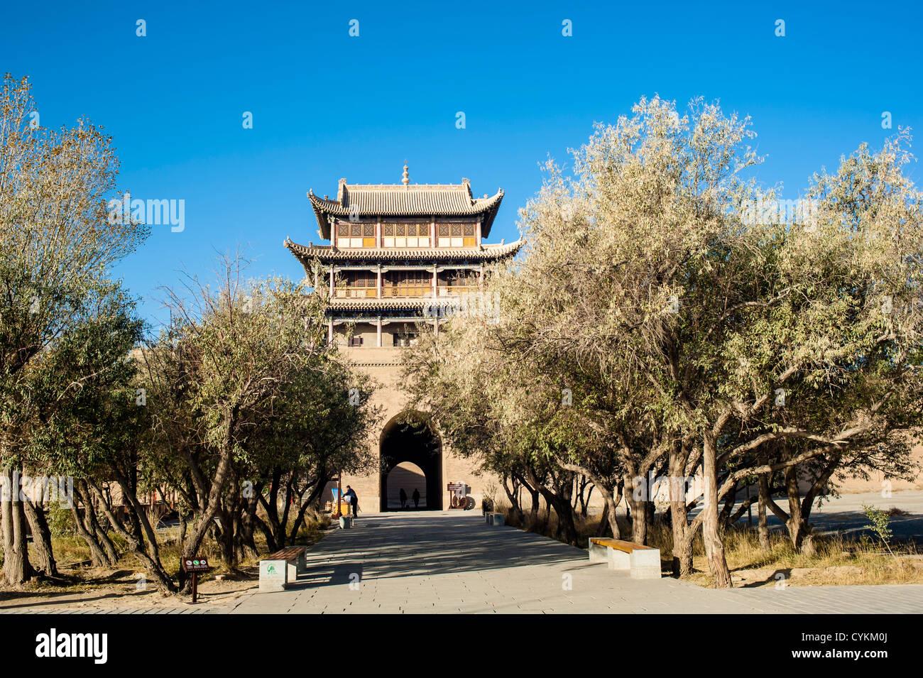 Inside of Jiayuguan castle, Jiayuguan city, China - Stock Image