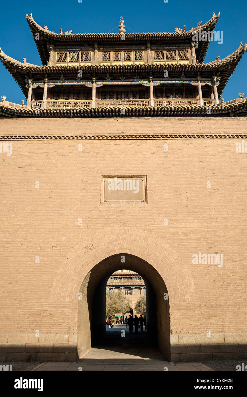 The tower in Jiayuguan castle,  west end of Great Wall, Jiayuguan city, China - Stock Image