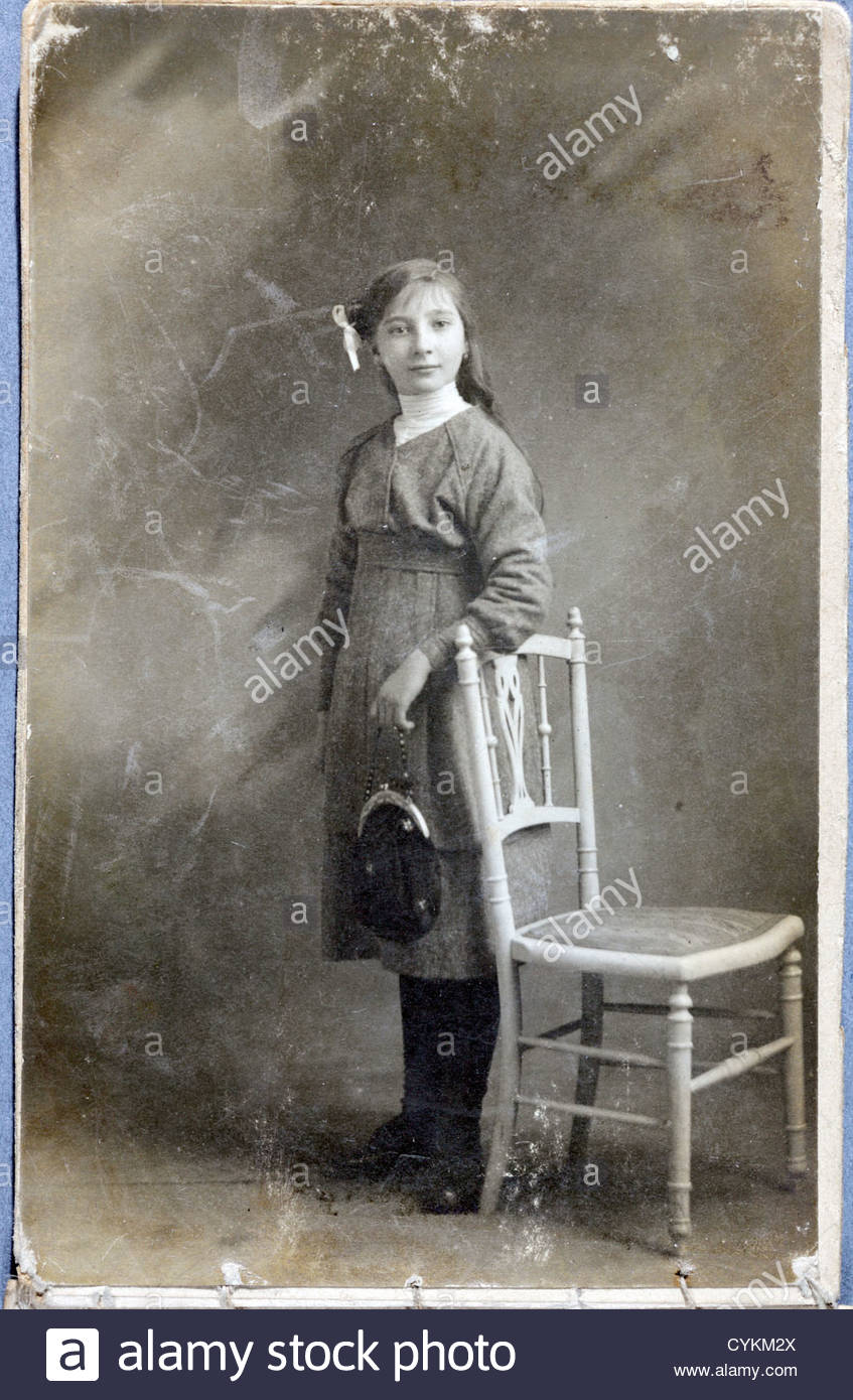 old damaged image of young girl in studio setting Stock ... Old Damaged Black And White Photos