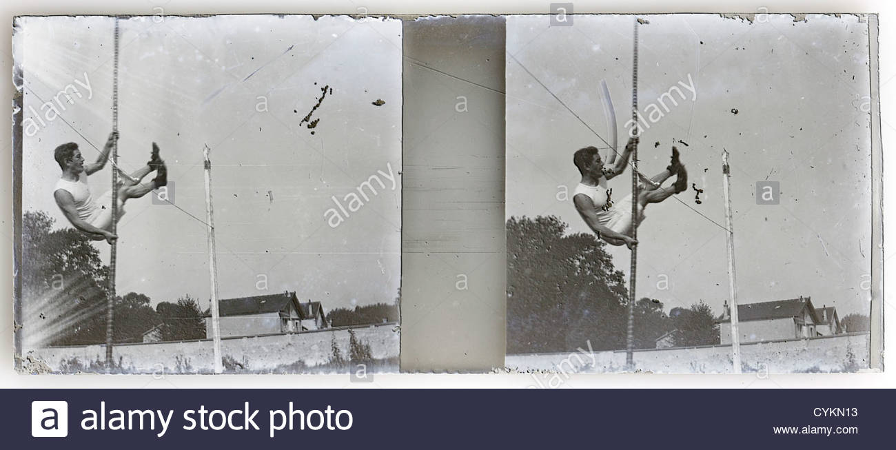 stereo image of athlete making a pole vault jump - Stock Image