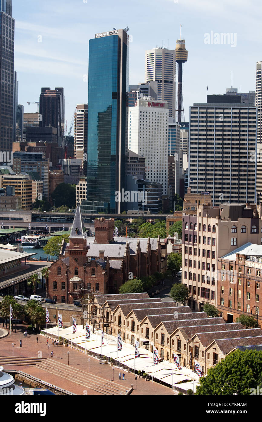 sydeny hourbour  Circular Quay warehouses and view of CBD from the rocks. - Stock Image