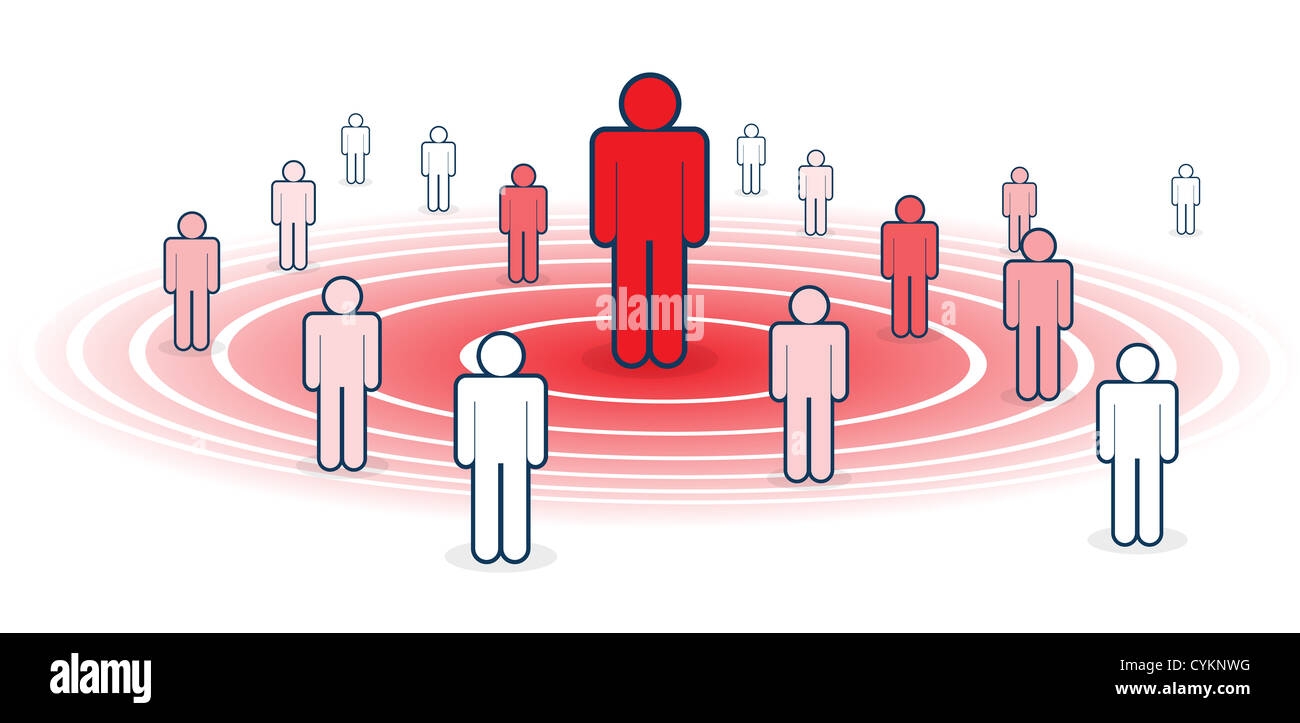 Metaphoral vector illustration of influence, with several figure influenced by red figure. - Stock Image