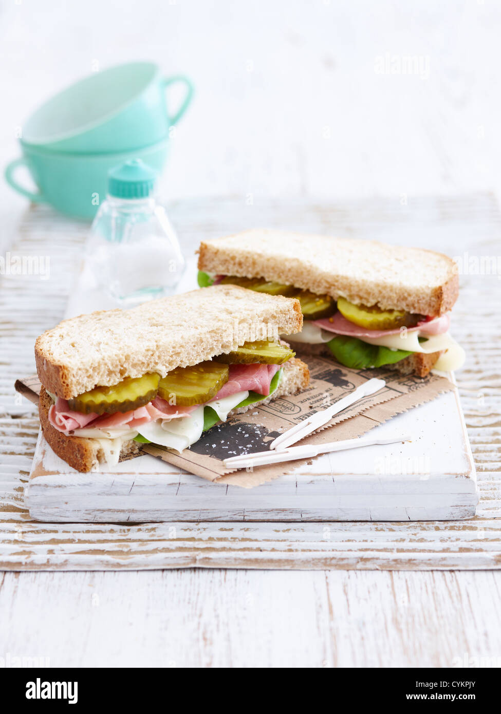 Sandwich with pickles and ham - Stock Image