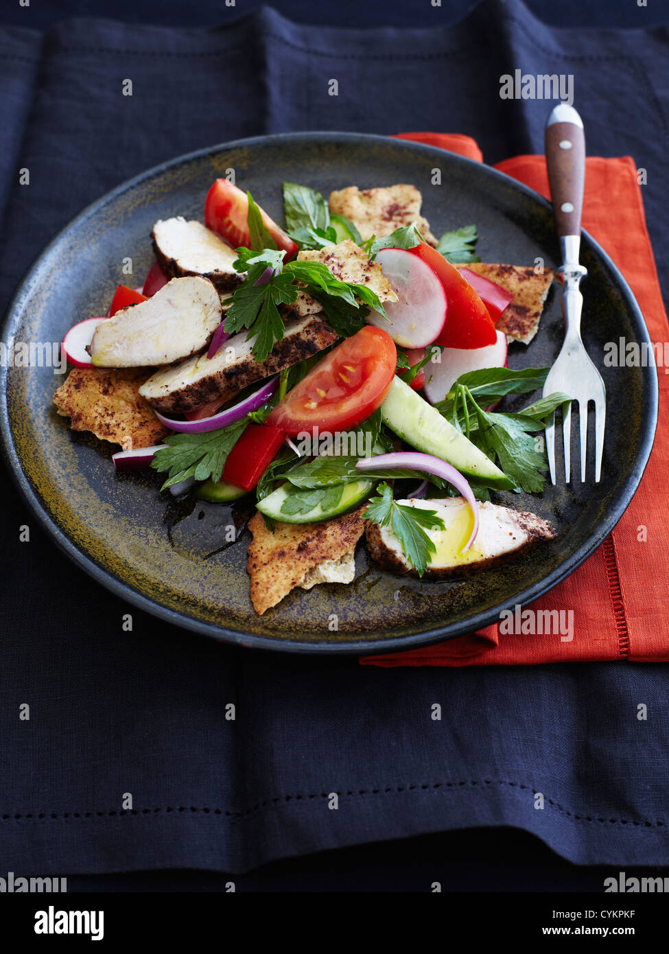 Plate of chicken in salad - Stock Image