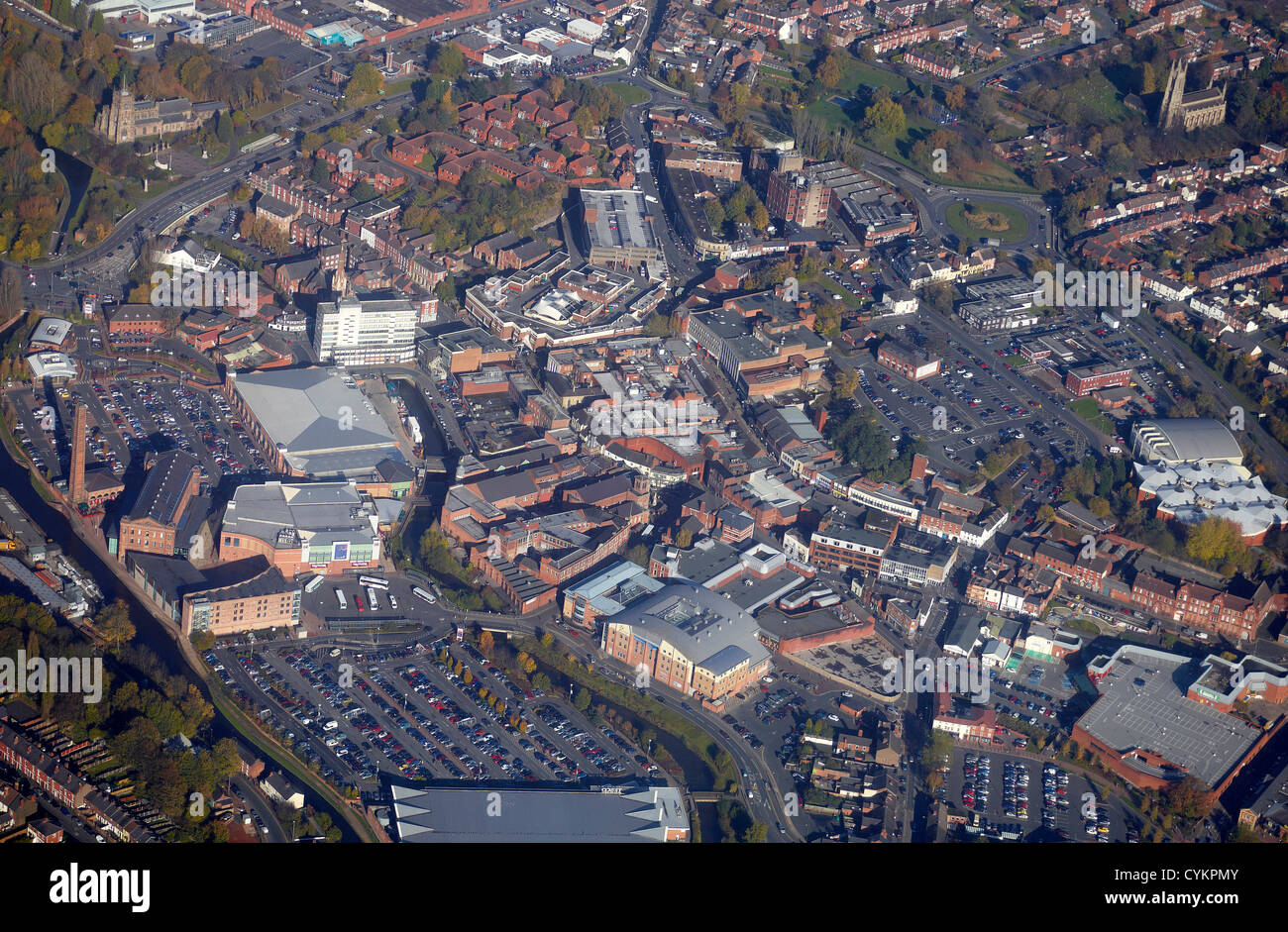Kidderminster Town Centre from the air, West Midlands, England UK - Stock Image
