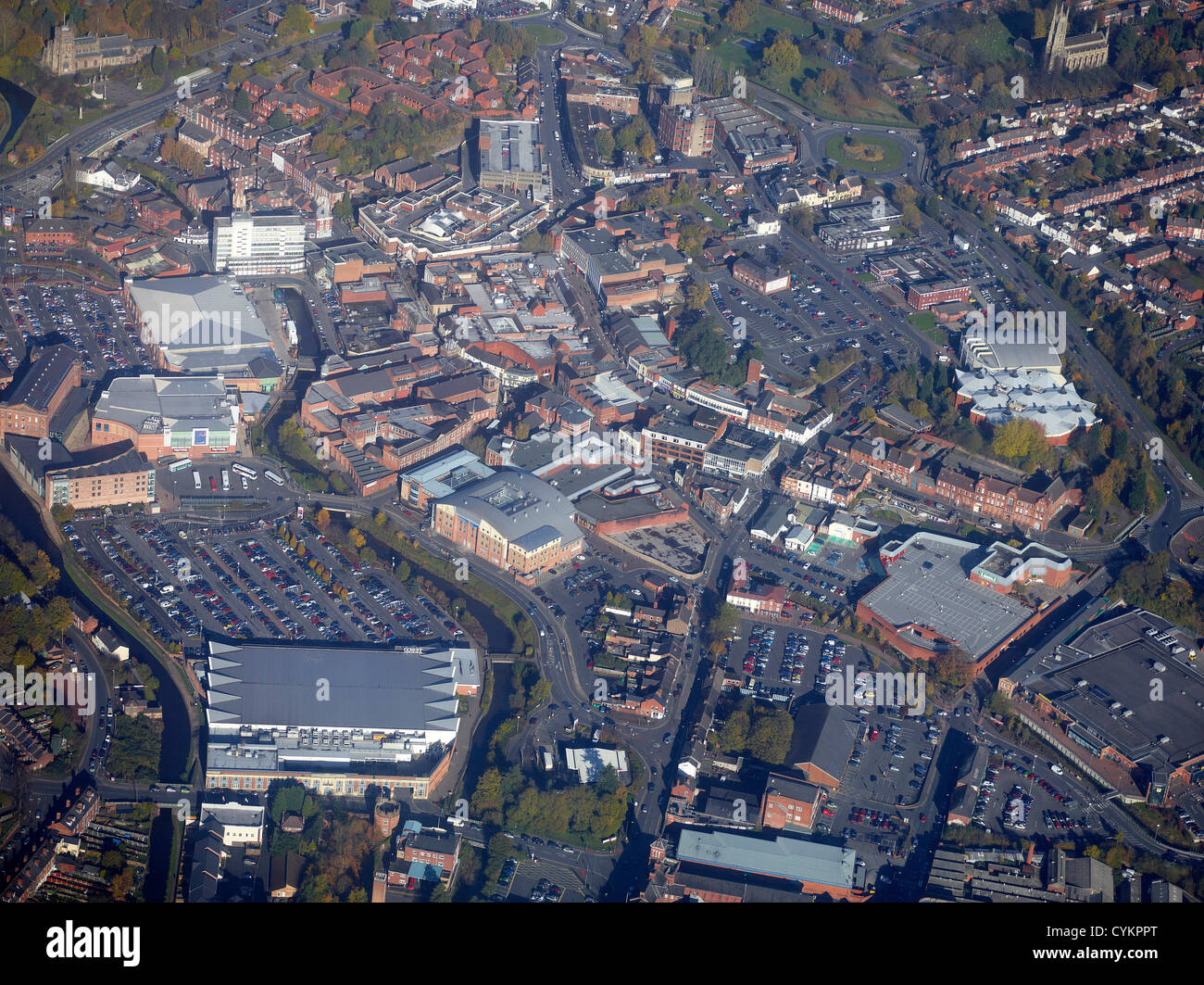 Kidderminster Town Centre from the air, West Midlands, England UK Stock Photo