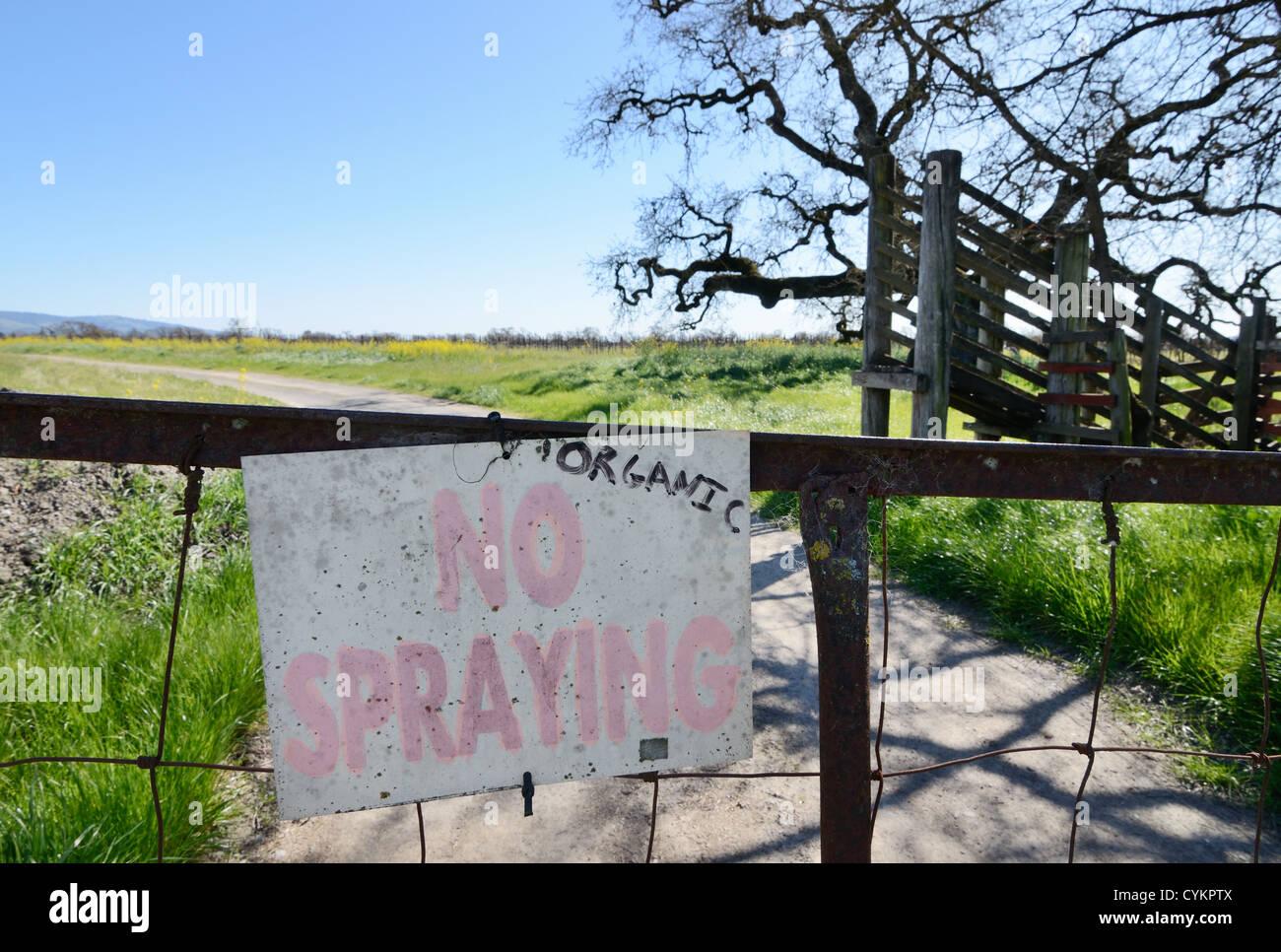 No spraying sign at organic farm Stock Photo