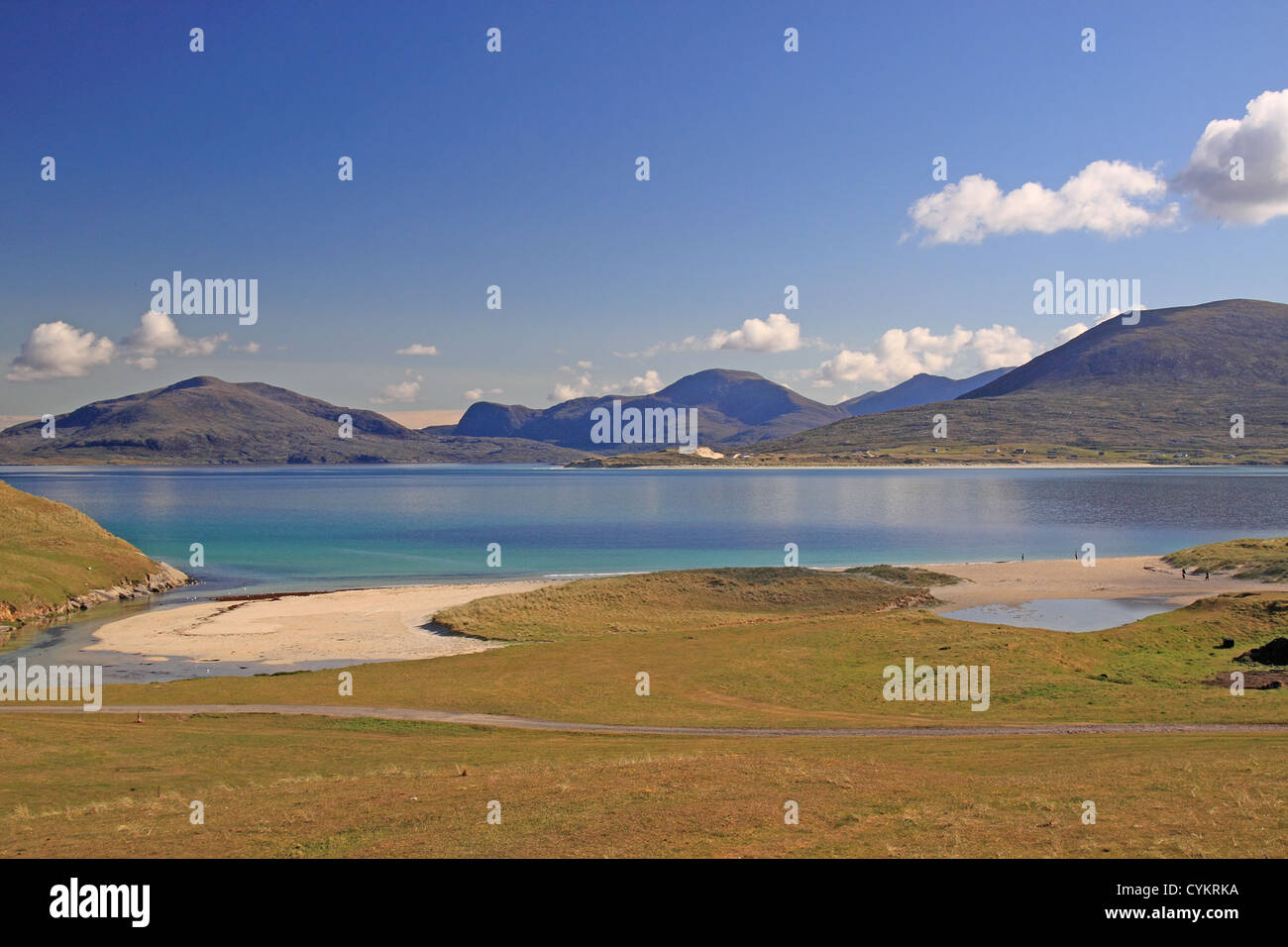 UK Scotland Outer Isles Isle of Harris Horgabost Bay and the Harris mountains - Stock Image