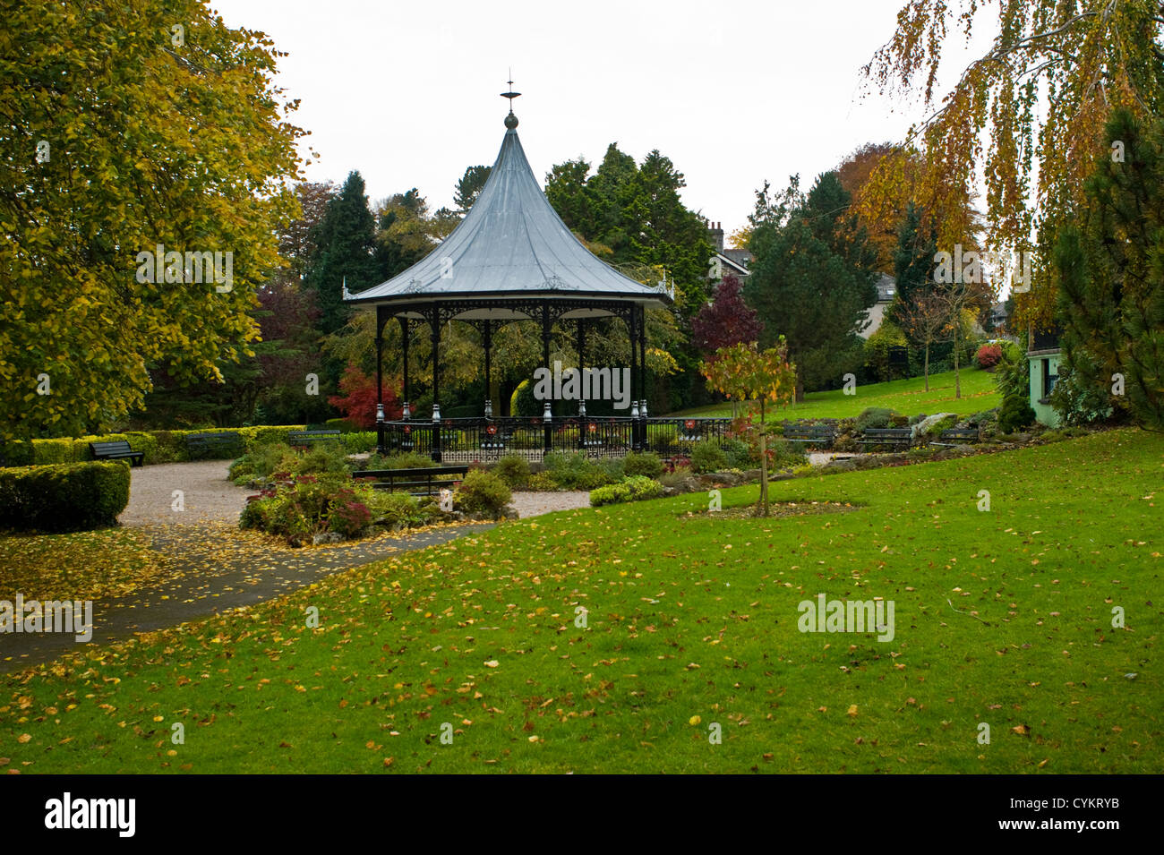 The Bandstand in the park, Grange-over-Sands - Stock Image