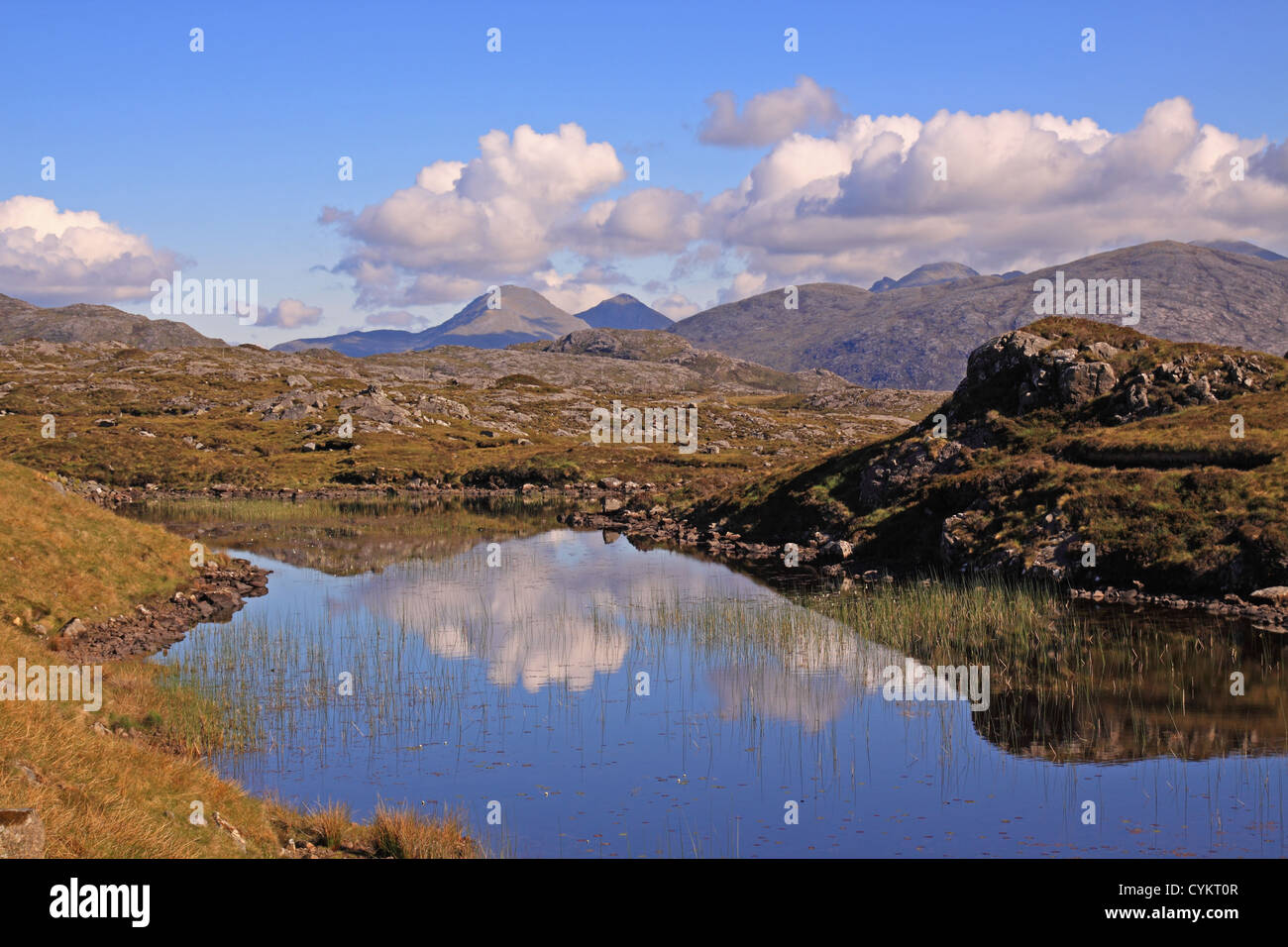 UK Scotland Highland Outer hebrides Isle of Harris Lochan near Tarbert and the Harris Mountains - Stock Image