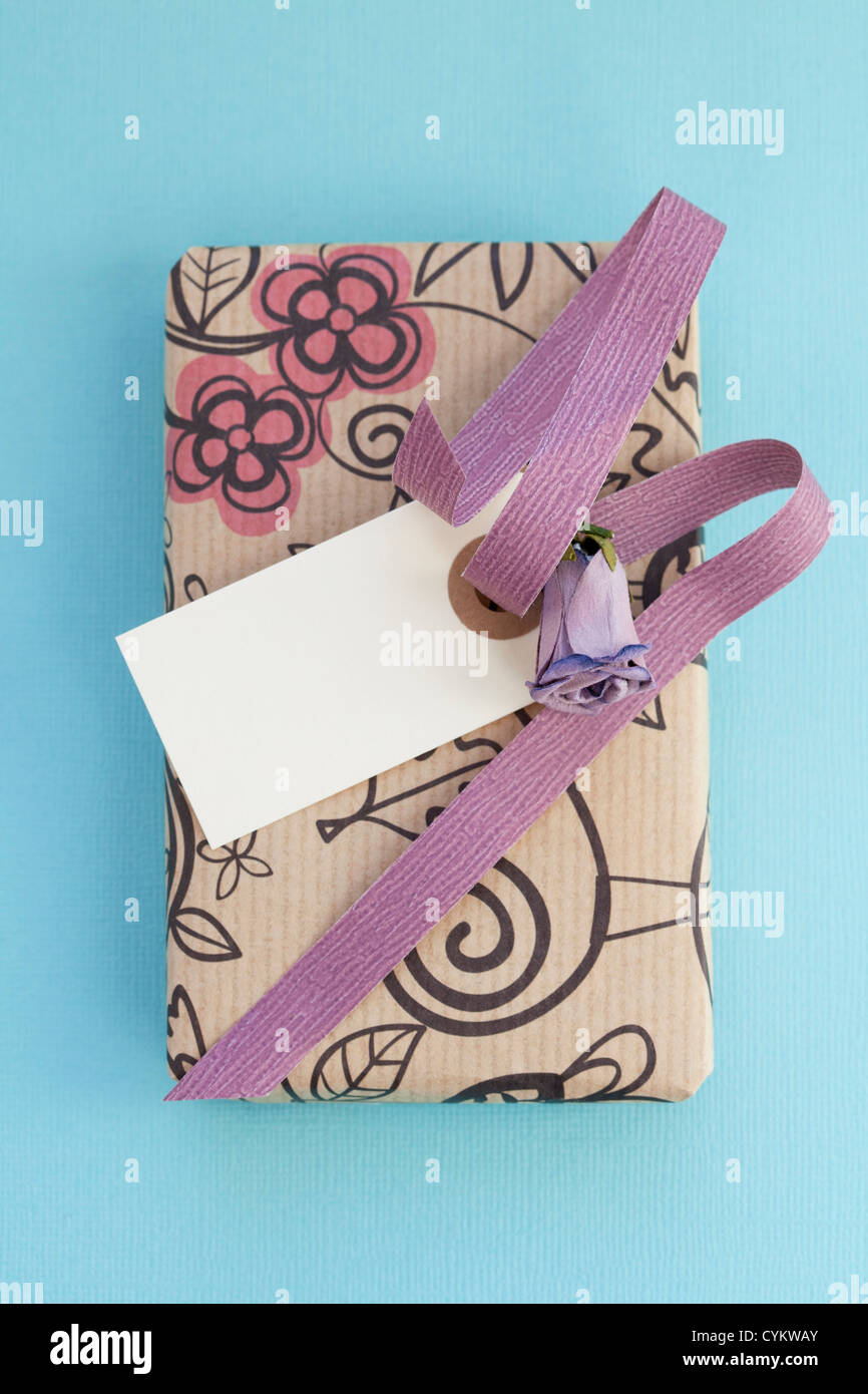 Close up of wrapped gift box - Stock Image