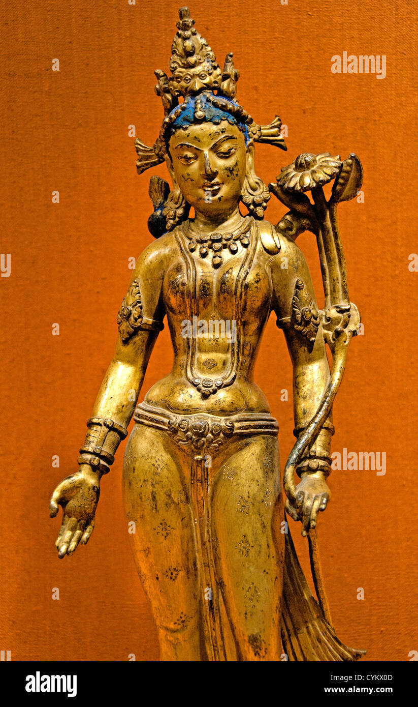 Tara, the Buddhist Savior 12th–13th century Nepalese Nepal Kathmandu Valley copper alloy with color and gold paint - Stock Image