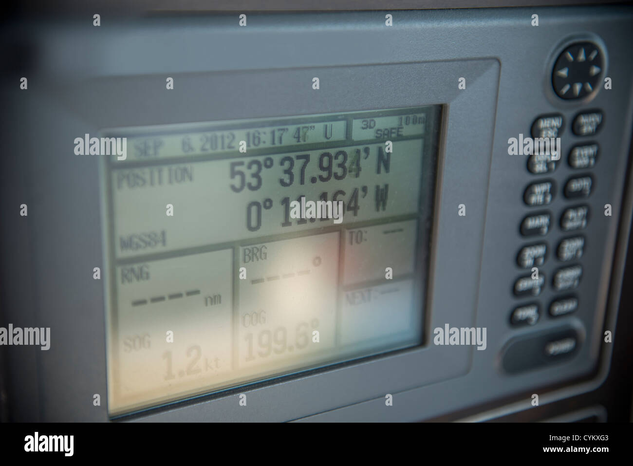 Close up of nautical GPS - Stock Image