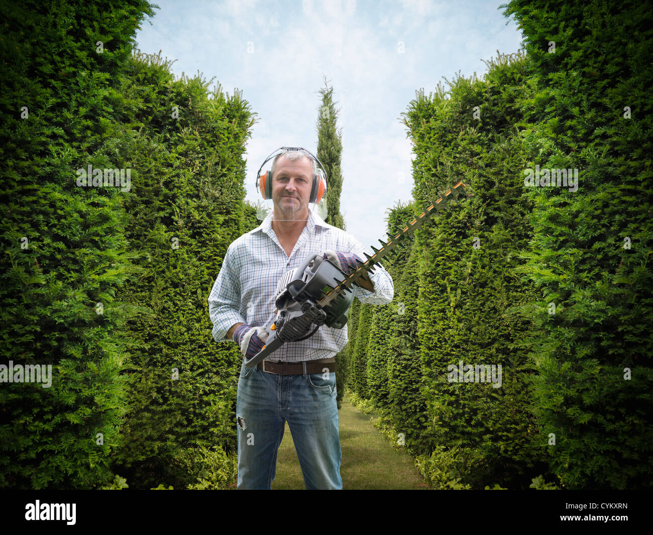Man holding hedge trimmer in garden Stock Photo
