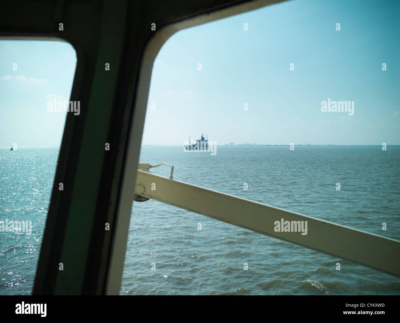 Ship and ocean viewed from bridge Stock Photo