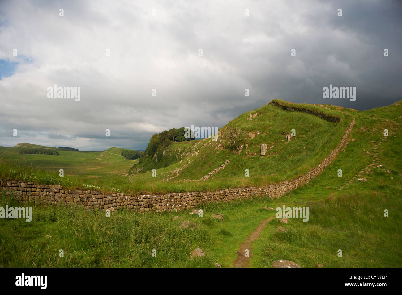Stone walls in rural field - Stock Image