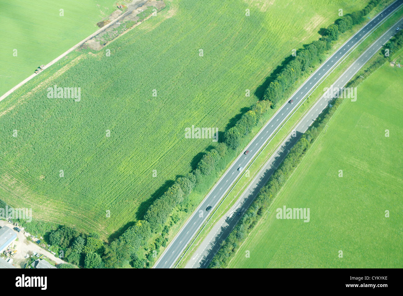 Aerial view of rural road - Stock Image