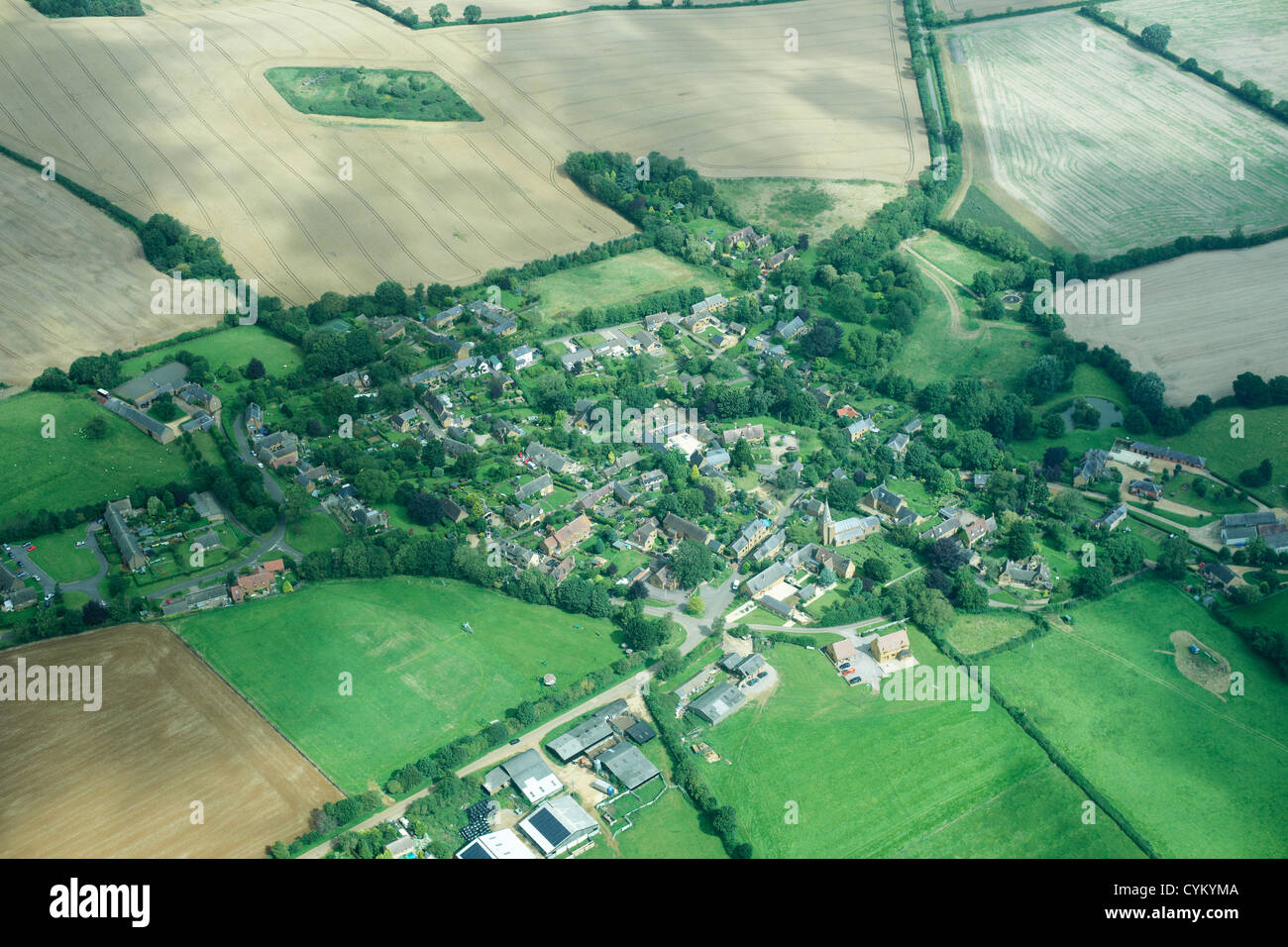 Aerial view of rural town and fields Stock Photo