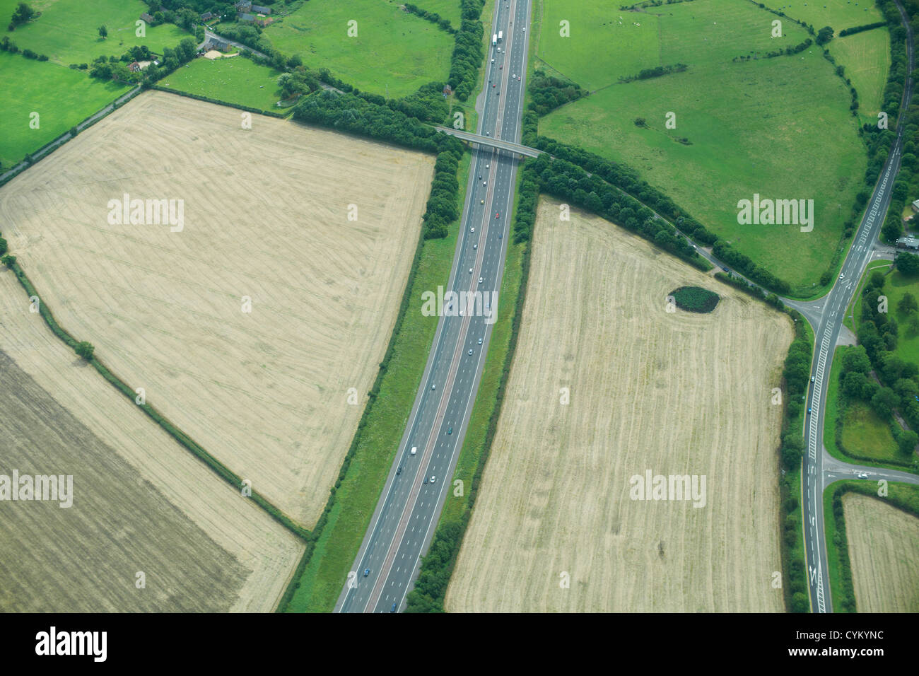 Aerial view of rural fields and road Stock Photo