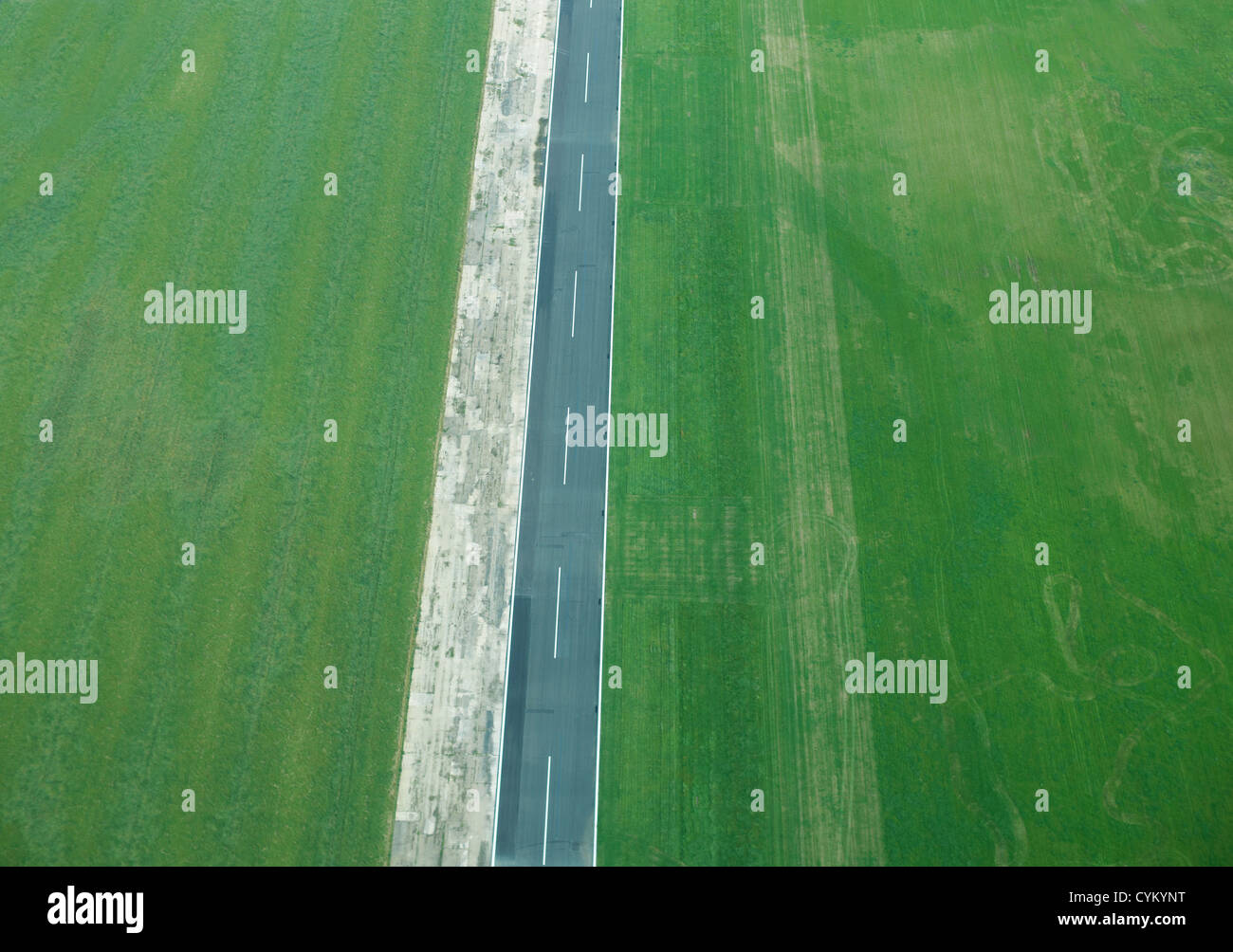 Aerial view of rural fields and road - Stock Image