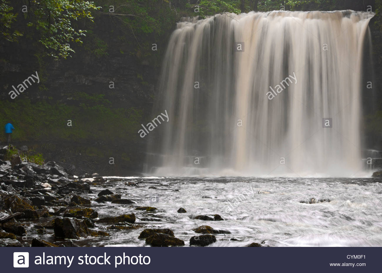 Time lapse view of waterfall in forest - Stock Image