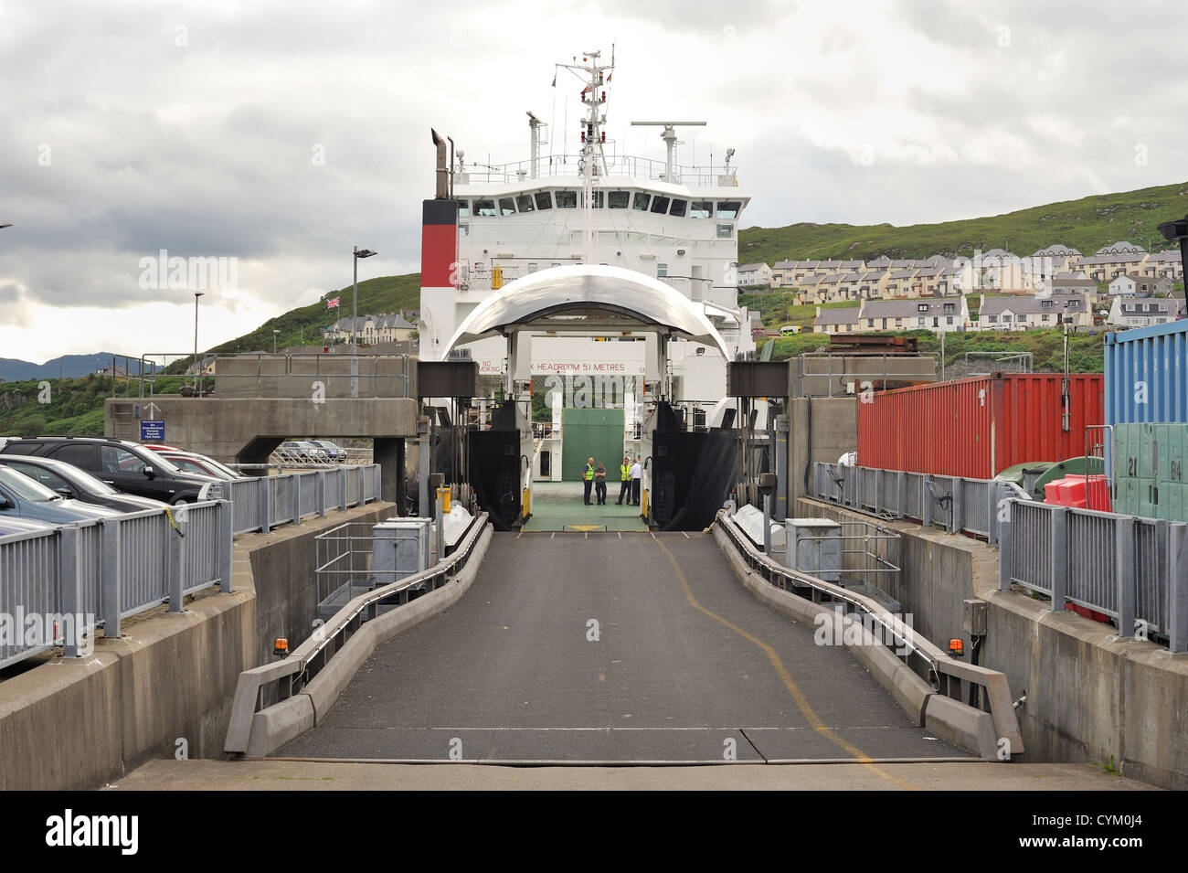 Car passenger ferry bow doors open waiting to load cars Stock Photo